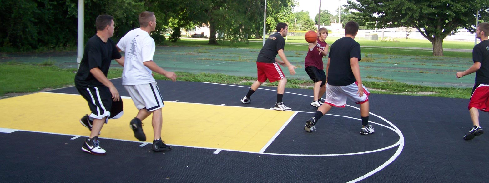 a backyard basketball court