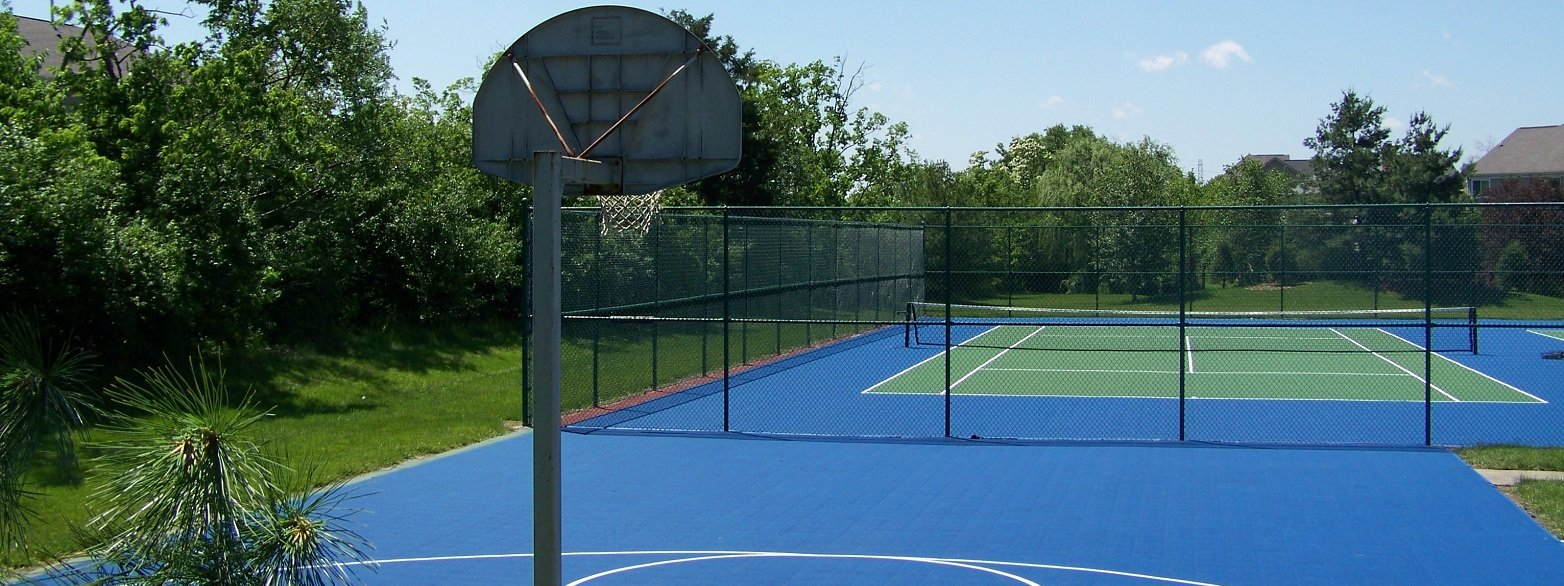 Basketball Court with Tennis Court in background