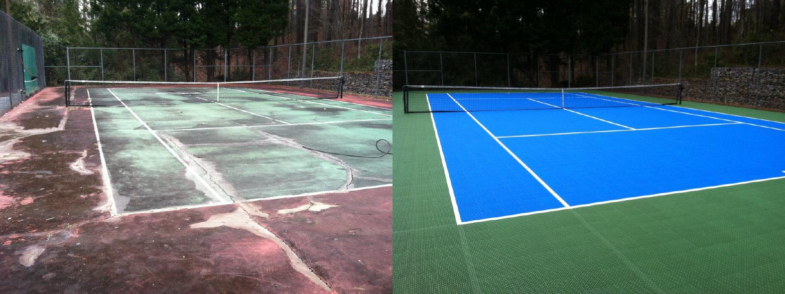 Before and After picture of a tennis court