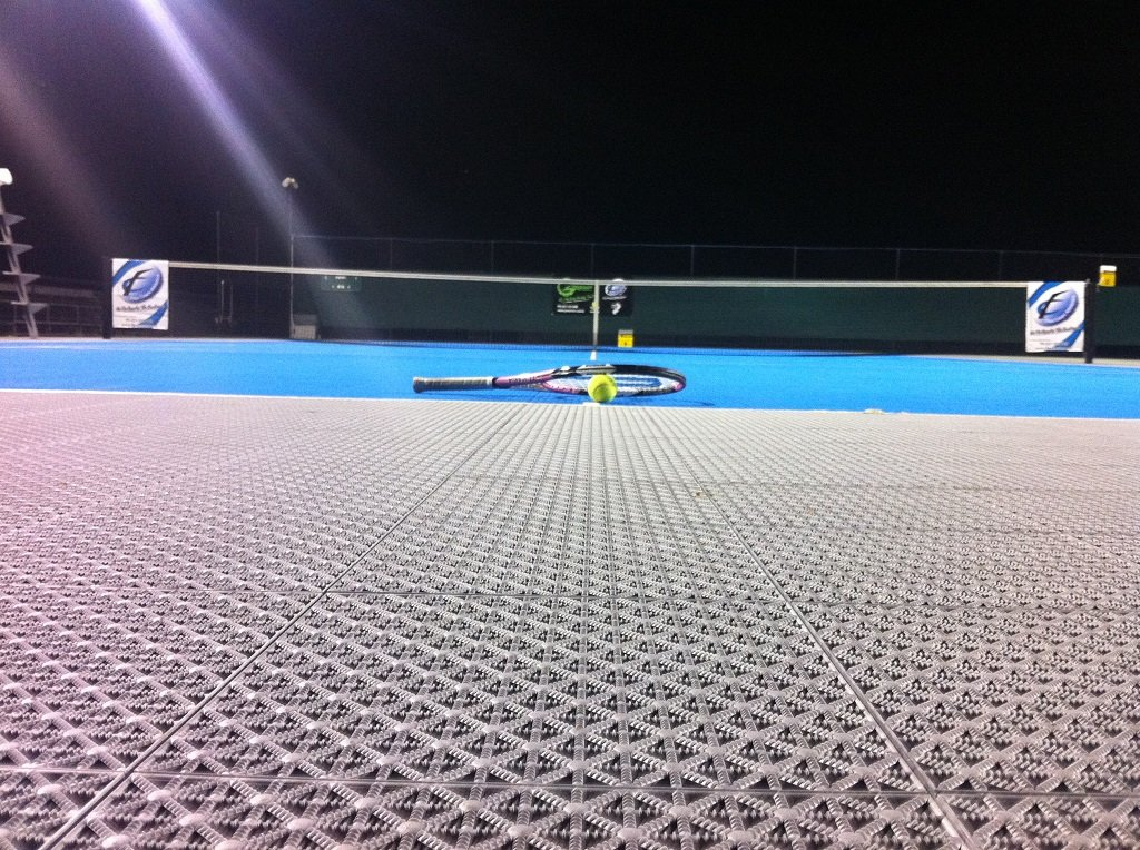 A tennis court built with ProStep tiles